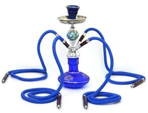 Waterpijp Marokko blauw 4 slangen (41cm)