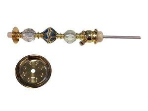 Waterpijpschacht met asvanger goud/blauw/transparant