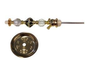 Waterpijpschacht met asvanger goud/zwart/transparant